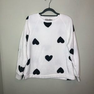 LOFT Fuzzy  Blanket Sweater with Hearts Small